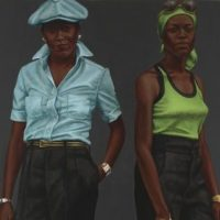 <p>Mid to Late 20th–Century Art Gallery, Level 2</p> <p>Barkley L. Hendricks paints colorful, approximately life-sized portraits of everyday people, such as these two sisters. He pays special attention to jewelry, clothing, skin tones, patterns, and textures, while also playing up their self-aware fashion statement. What do you think their style says about them and why?</p>