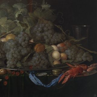 <p>Leave ancient Greece, go through Tapestry Hall, and enter the European Galleries. Be sure to bring your appetite! This artist's still life includes lots of organic fruits and shapes. What familiar fruits do you see?</p>
