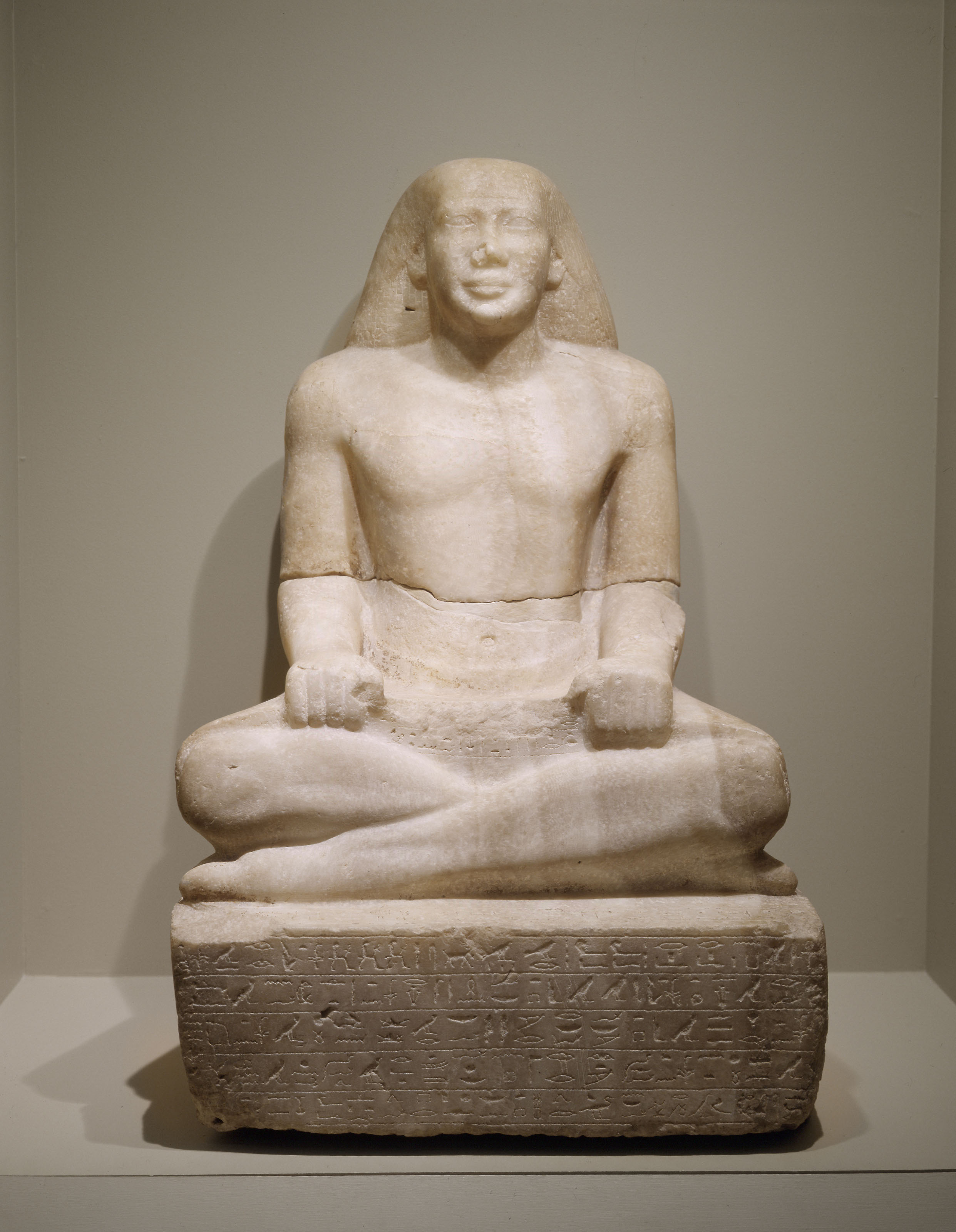 Ancient egyptian culture virginia museum of fine arts seated scribe 664610 bc alabaster adolph d and wilkins c williams fund biocorpaavc