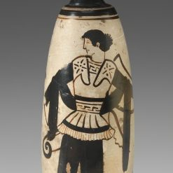 <p>Ancient Galleries, Level 2</p> <p>In the Greek galleries, find this strong woman of the ancient world who appears on a alabastron (perfume bottle). What has the artist given this Amazon warrior to convey her power? </p>