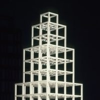<p>Mid to Late 20th Century Galleries, Level 2</p> <p>Each layer of this monumental sculpture is made through repetition of the cube seen in the top layer. The second layer has 8 cubes, and the third has 27. Can you guess how many the 6th layer has? If you were to build an additional seventh layer, how many cubes would you need? </p>