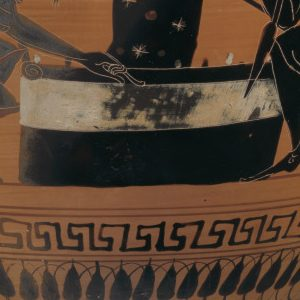 <p>Ancient Galleries, Level 2</p> <p>On this Ancient Greek vessel, known as an Amphora, two Trojan heroes play a game while a goddess stands nearby.  Framing these figures are patterns characteristic of vases made in ancient Athens.  Which patterns do you see that are symmetrical?  Ancient Athenians often filled amphora like this one with olive oil and awarded them to victorious athletes.  How might we calculate the amount of oil this amphora could hold?  What might you need to measure to make a calculated guess? </p>