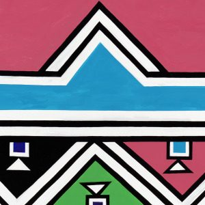 <p>Evans Court, Level 2</p> <p>Tessellating triangles dance across the edges of this colorful mural painted by the most renowned artist of South Africa's Ndebele people.  Like the bold geometric designs traditionally painted on the exterior of rural Ndebele homes, this mural has many lines of symmetry. How many can you find?</p>