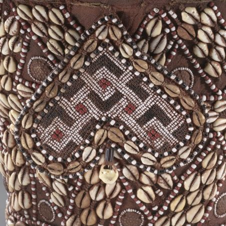 <p>African Galleries, Level 2</p> <p>An important part of a Kuba king's regalia, this object reveals the artist's mastery of geometric patterning.  How many different polygons can you identify in this complex patterning?  How do they relate to one another? Can you find examples of congruence or similarity? What about instances of rotation, translation, or dilation? </p>
