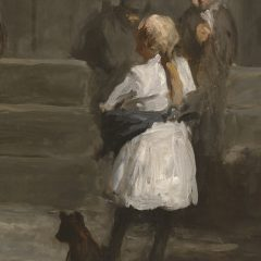<p>I am a young girl living in New York City in 1906 when working-class children often roamed the streets unsupervised.  If your eyes were my eyes, what would you see taking place in this scene?  What is going on?  What makes you say that? What do you think will happen next? </p>