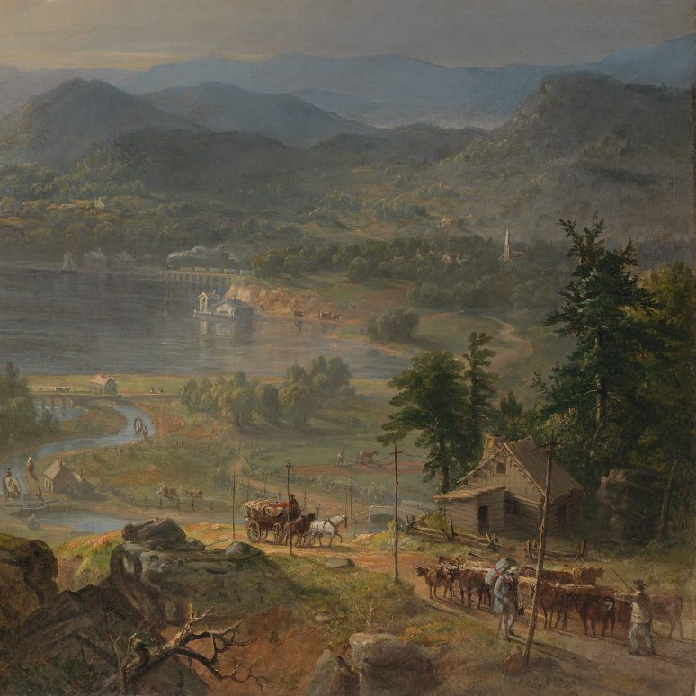 <p>American Galleries- Antebellum Civil War, & Centennial: </p> <p>Imagine how the American landscape has changed across time. Now, look at Asher B. Durand's huge painting, titled Progress: The Advance of Civilization, and identify who are all a part of this scene. How might monumental changes, like land development and technology, be seen as good for one person and bad for another?</p>