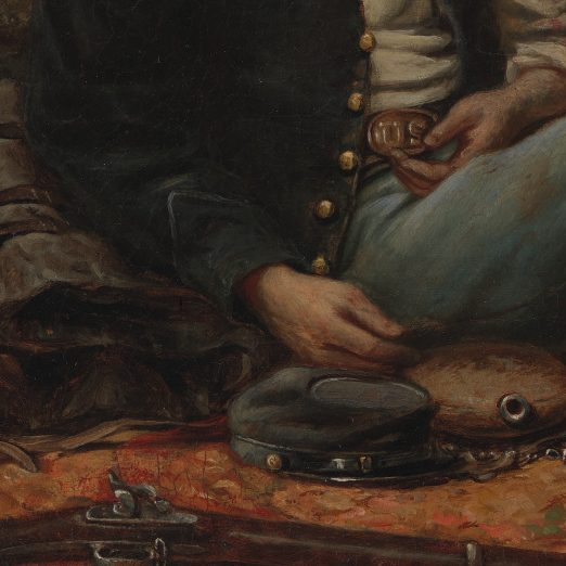 <p>American Galleries- Antebellum Civil War, & Centennial: </p> <p>The artist of this work, Mosely Greene, decided to paint a Union soldier's account of his experience in the Civil War. Why do you think Greene chose to illustrate a Union soldier and not a Civil War military leader, like Ulysses S. Grant? Why might it be important to remember people who are not famous?</p>